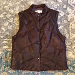 J. Crew Leather Puffer Bomber Vest